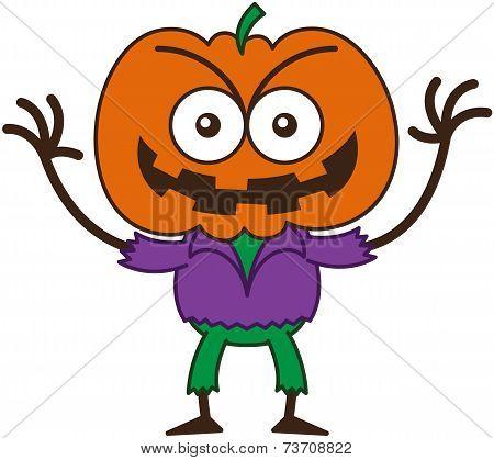 Naughty Halloween scarecrow smiling mischievously