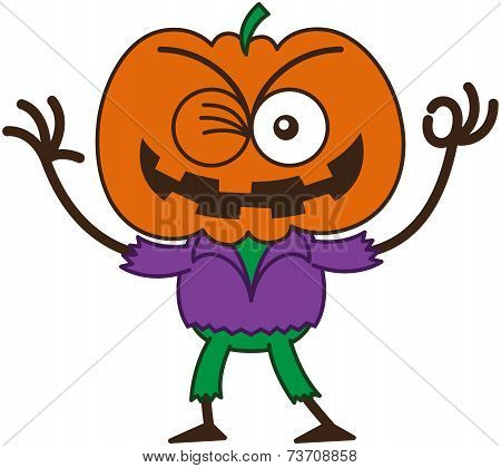 Cool Halloween scarecrow winking and making an OK sign