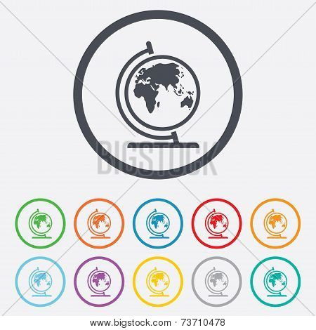 Globe sign icon. World map geography symbol. Globe on stand for studying. Round circle buttons with frame. Vector poster