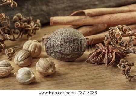 Cooking Ingredients On Wooden Background,seasoning,