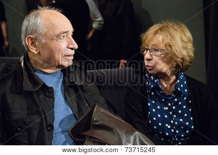MOSCOW - OCTOBER, 1: Valentin Gaft and Liya Ahedzhakova. Opening Season. Troupe of Theatre Meeting.