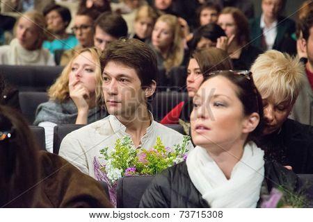 MOSCOW - OCTOBER, 1: Mariya Anikanova,  Ivan Zabelin. Opening Season. Troupe of Theatre Meeting.