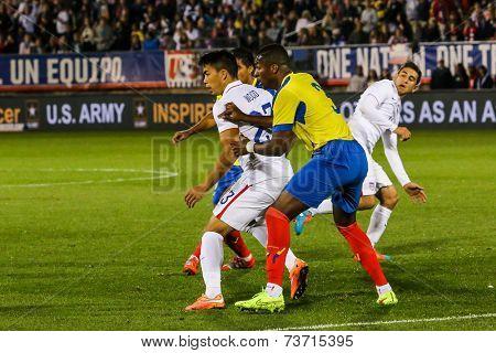 HARTFORD - OCTOBER 10: Bobby Wood  onUS International Friendly match between US Men`s National Team vs Ecuador, on October 10, 2014, in Rentschler Field stadium, Hartford, USA.