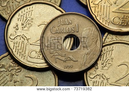 Coins of Spain. King Juan Carlos I of Spain depicted in the old Spanish 25 peseta coin.