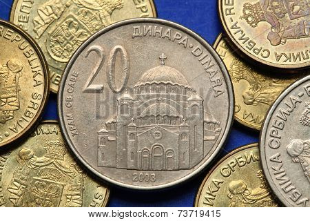 Coins of Serbia. The Church of Saint Sava in Belgrade, Serbia, depicted in Serbian twenty dinars coin.  poster
