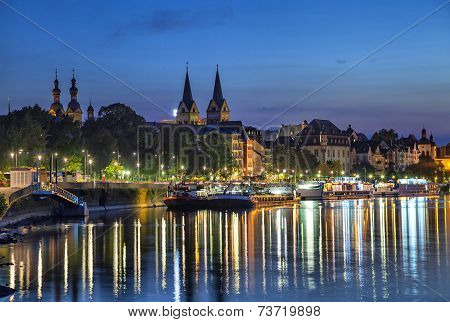 Koblenz Skyline Reflecting In River Moselle