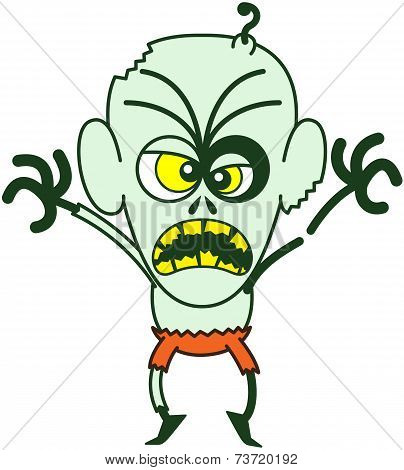 Intimidating bald zombie with bulging crossed eyes, green skin, big ears and orange pants while frowning, yelling, raising his arms and standing on tiptoes in a very aggressive mood poster
