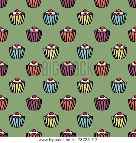 Seamless Cupcake Background