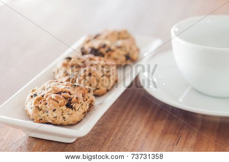 Mixed Nut Cookies With Coffee Cup