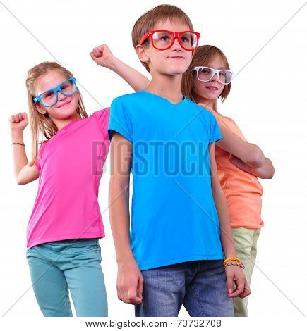 Group Of Happy Friends Wearing Eyeglasses Isolated Over White