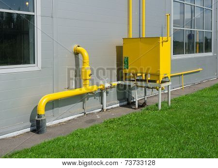 Industrial gas meter yellow box