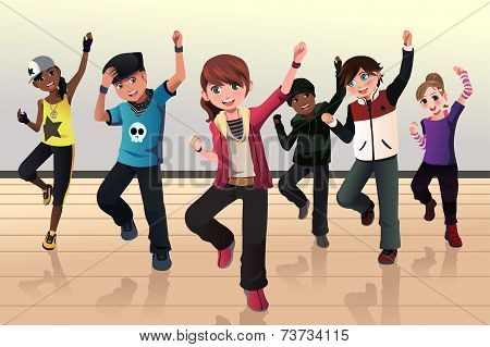 A vector illustration of kids in hip hop dance class poster