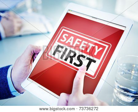Hands Holding Digital Tablet Safety First