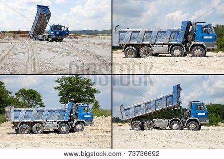 Freight trucks with dump body, postcard