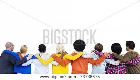 Group Of Multi-Ethnic People's Hands On Each Other's Shoulder And Looking At White Background.