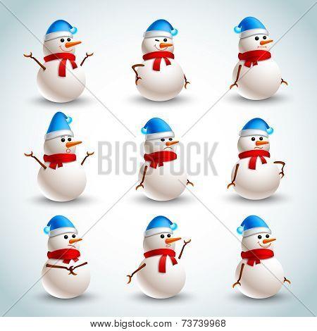 Snowman emotions set