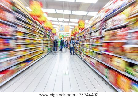 supermarket aisle,motion blur