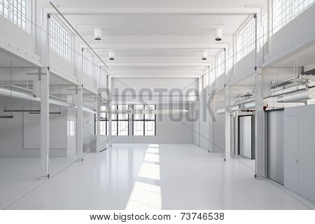 Empy white industrial hall for storage or an office