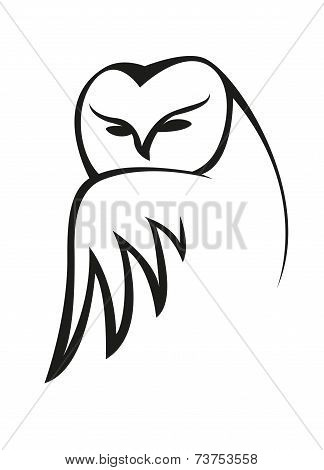 Black and white doodle owl sketch