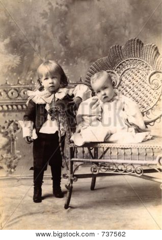 Vintage Antique 1890 era photo of Toddler and Baby