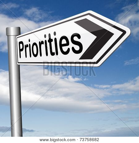priorities important very high urgency info highest importance crucial information top priority dont forget road sign