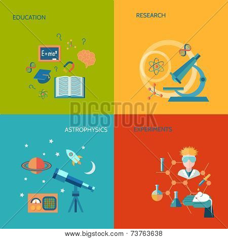 Science and research flat icons set with education research astrophysics experiments isolated vector illustration poster