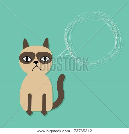 Cute sad grumpy siamese cat and scribble speech bubble in flat design style.