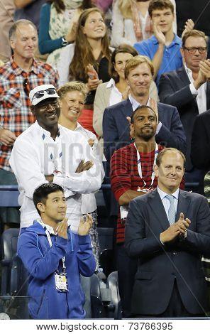 Michael Jordan attends first round match between Roger Federer of Switzerland and Marinko Matosevic