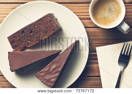 top view of sacher cake and coffee