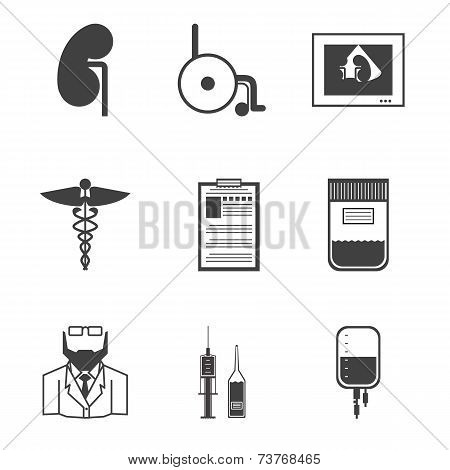 Black vector icons for nephrology