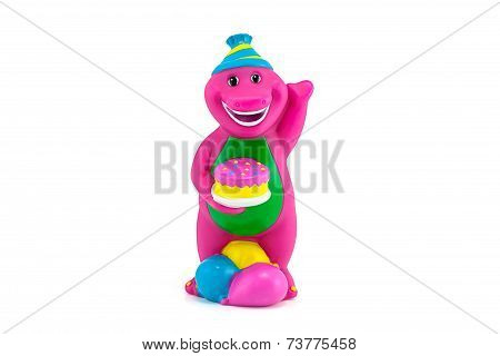Barney The Purple Dinosaur Figure Toy Wear A Birthdays  Costume With Cake.