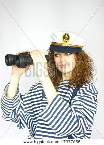 Young Sailor Girl  With Binoculars