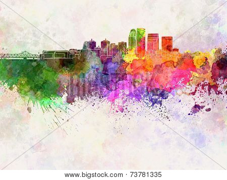 Louisville Skyline In Watercolor Background