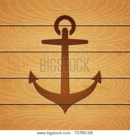 anchor on wooden background