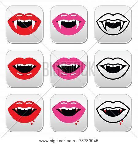Vampire mouth, vampire teeth vector buttons set