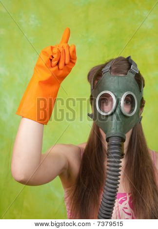 Girl In Gas Mask Pointing Attention