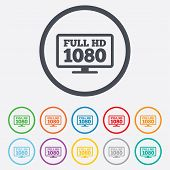 Full hd widescreen tv sign icon. 1080p symbol. Round circle buttons with frame. Vector poster