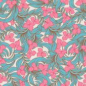 abstract nature background with pink flowers and turquoise leafes poster
