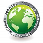 green earth globe icon with silver bevel and environment theme poster