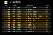 Departure board - destination airports. Vector illustration - the letters and numbers for easy editing your own messages are embedded outside the viewing area. USA destinations: poster