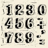 Hand drawn grunge scribble vector typeface figures  poster
