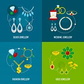 Jewelry icons flat set of silver gold wedding fashion jewellery isolated vector illustration poster