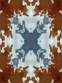 Brown and white kaleidoscope cow hide pattern poster