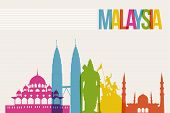 Travel Malaysia famous landmarks skyline multicolored design background. Transparency vector organized in layers for easy create your own website brochure or marketing campaign. poster
