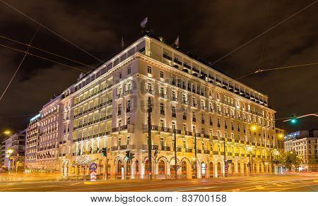 Building In The City Center Of Athens Decorated For Christmas