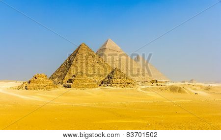 View Of Pyramids From The Giza Plateau: Three Queens' Pyramids, The Pyramid Of Menkaure, The Pyramid