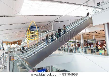 Escalator In Terminal 2 At Dublin Airport