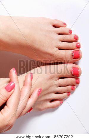 Beautiful elegant nail polished nails and toes poster