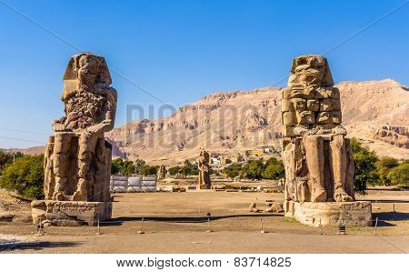 Colossi Of Memnon (statues Of Pharaoh Amenhotep Iii) Near Luxor - Egypt