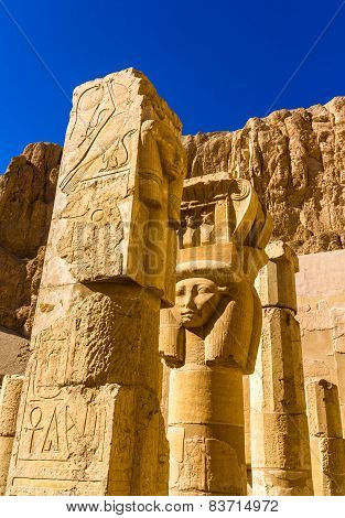 Ancient Sculptures In The Mortuary Temple Of Hatshepsut - Egypt